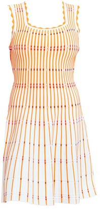 Lela Rose Two-Tone Pinstripe Knit A-Line Dress