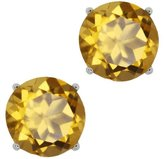 Gem Stone King 3.60 Ct Round Quartz 14K White Gold Basket Stud Earrings 8mm