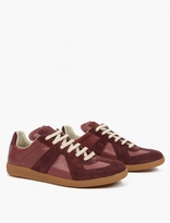 Maison Margiela Burgundy Leather and Suede Replica Sneakers