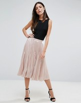 Warehouse Pleated Lame Skirt
