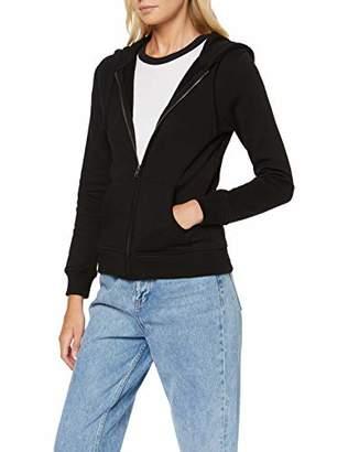 Build Your Brand Women's Ladies Merch Zip Hoody Jacket, Black 00007, X