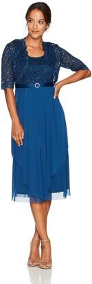 R & M Richards R&M Richards Women's Petite 2 Piece Lace Hankie Collarless Jacket Dress