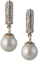 Carolee Gold-Tone Imitation Pearl & Pave Drop Earrings