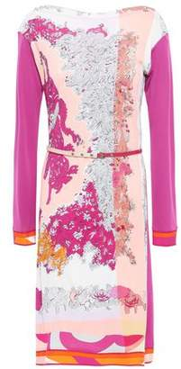 Emilio Pucci Belted Floral-print Jersey Mini Dress