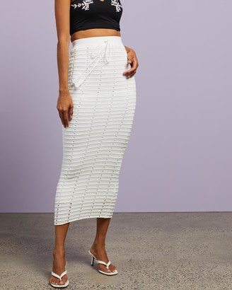 Dazie - Women's White Midi Skirts - Beachside Midi Crochet Skirt - Size S at The Iconic