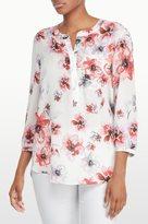 NYDJ Amalfi Floral Printed 3/4 Sleeve Blouse In Petite