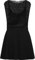 Maje Rosaline plissé-lace and crepe mini dress