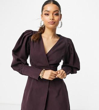ASOS DESIGN Petite denim puff sleeve wrap dress in plum