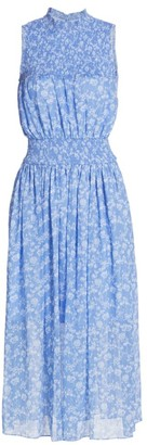 ML Monique Lhuillier Printed Sleeveless Smocked Dress