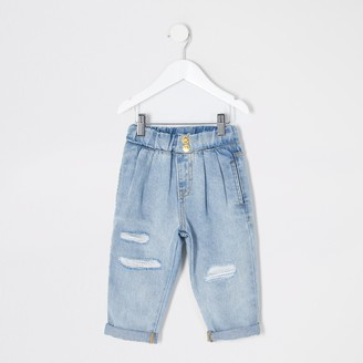 River Island Mini girls Blue ripped Mom pull on jeans