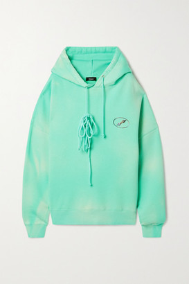 we11done Oversized Printed Appliqued Cotton-blend Jersey Hoodie - Jade