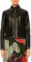 Valentino Rockstud Leather Zip-Front Jacket, Black