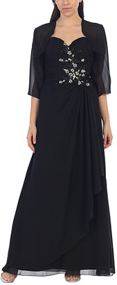 Mayqueen MayQueen Women's Special Occasion Dresses Black - Black Floral Embroidered Gown & Shrug - Women
