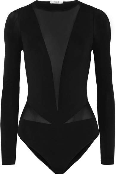 Wolford - Sleek String Stretch-jersey Thong Bodysuit - Black