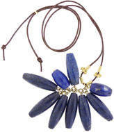 Lapis LFrank Large Cluster Necklace with Bali Beads