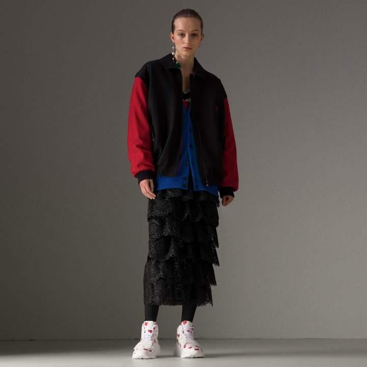 Burberry Reissued Contrast-sleeve Wool Jacket, Blue