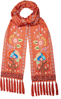Temperley London Lysander floral-embroidered satin scarf