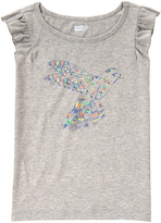 Crazy 8 Cozy Heather Gray Bird Flutter-Sleeve Top - Girls