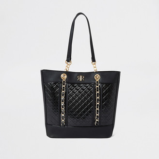 River Island Girls black patent jacquard shopper bag