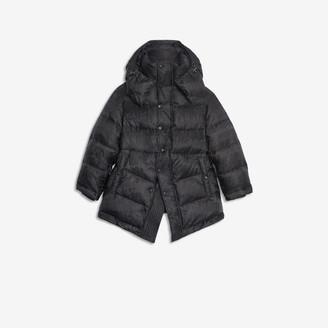 Balenciaga Mixed Typo New Swing Puffer Jacket in black jacquard light nylon