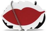 RED Valentino Women's Minaudiere Lips Clutch Bag Black/White/Red