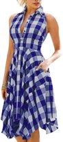 ACHICGIRL Women's Plaid Sleeveless Knee Length Flared Shirtdress, M
