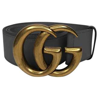 Gucci GG Buckle Grey Leather Belts