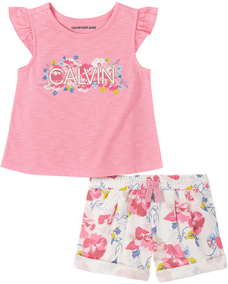 Calvin Klein Jeans Girls' Casual Shorts 2040 - Pink Floral Logo Angel-Sleeve Top & White Floral Shorts - Infant & Girls
