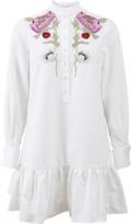 Alexander McQueen Embroidered Mini Pique Shirt Dress