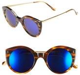 Illesteva Women's 'Palm Beach' 50Mm Round Sunglasses - Sand/ Violet Mirror