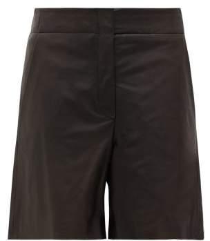 Raey Elasticated-back Leather Shorts - Womens - Black