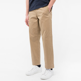 Paul Smith Men's Mid-Fit Taupe Chinos With Contrast Stitching