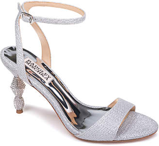 Badgley Mischka Evamarie Ankle-Wrap Sandals with Crystal Heel
