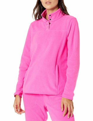 Amazon Essentials Women's Polar Fleece Mock Neck Relaxed-Fit Popover Jacket Bright Pink XX-Large