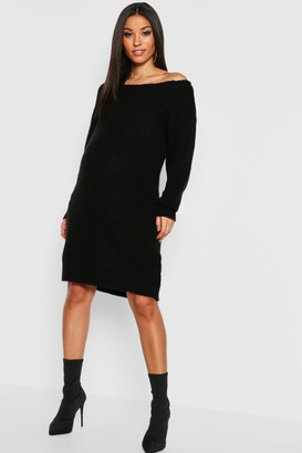 boohoo Maternity Slit Neck Knitted Sweater Dress
