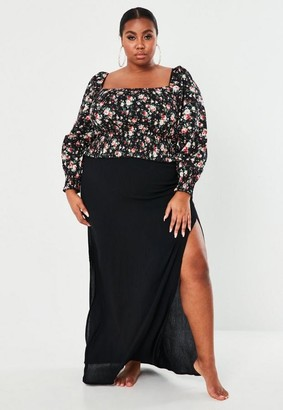 Missguided Plus Size Black Crinkle Maxi Skirt
