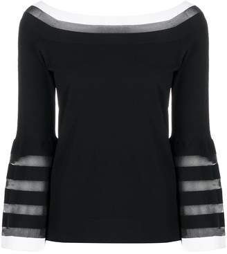 D-Exterior Contrast Panel Striped Detail Knitted Top
