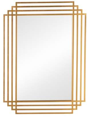 Baxton Studio Davide Art Deco Antique Gold Rectangular Accent Wall Mirror