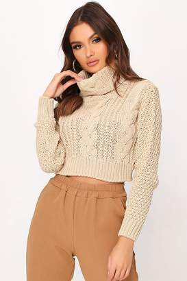 I SAW IT FIRST Stone Chunky Knit Cropped Jumper