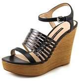 French Connection Demi Women Open Toe Leather Black Platform Sandal.