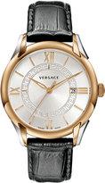 Versace Apollo Watch w/ Calfskin Leather Strap, Rose Golden/Black