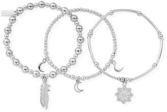 Namaste Chlobo Sterling Silver Stack of 3 Bracelets