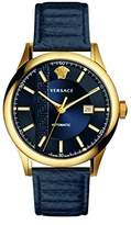 Versace Men's 'AIAKOS' Swiss Automatic Gold-Tone and Leather Casual Watch