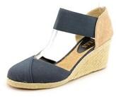Lauren Ralph Lauren Charla Women Open Toe Canvas Blue Wedge Sandal.