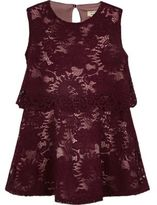 River Island Mini girls red layered lace dress