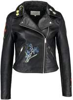 Vila VIFLORALA BIKER JACKET Faux leather jacket black