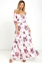 LuLu*s Infinite Love Ivory Floral Print Off-the-Shoulder Maxi Dress