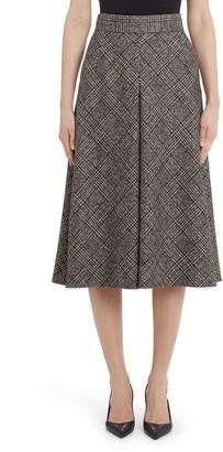 Dolce & Gabbana Inverted Pleat Plaid Wool Blend A-Line Skirt
