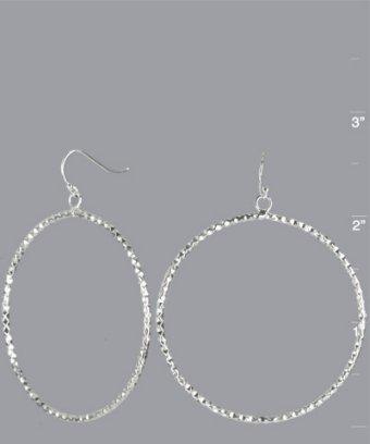 Argento Vivo silver faceted large hoop earrings