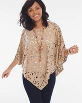 Chico's Perforated Faux-Suede Poncho